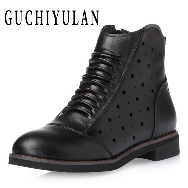 GUCHIYULAN spring autumn Martin Boots Genuine Leather Ankle Shoes Cowhide Openwork Casual Shoes Women Lace Up Boots