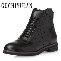 GUCHIYULAN Spring Autumn Martin Boots Genuine Leather Ankle Shoes Cowhide Openwork Casual Shoes Women Lace Up