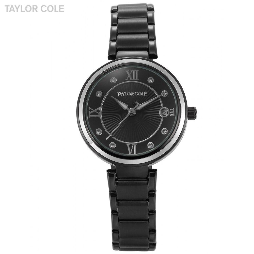 Taylor Cole Brand Montre Femme Marque De Luxe Numeral Date Crystal Relogio Women Black Steel Bracelet Lady Quartz Watches /TC069 taylor cole relogio tc013