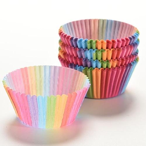 100 Pz Colorful Rainbow Torta di Carta Fodere Del Bigné Del Partito di Cottura D