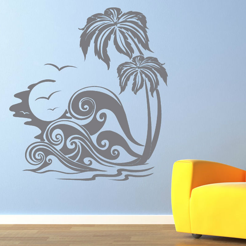 √Dctop mar olas y palma Árboles Beach Wall sticker vinilo Art Decal ...