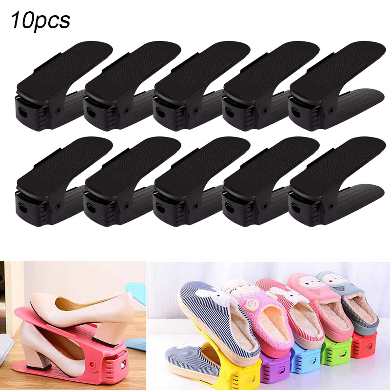 Home & Garden Shoe Racks & Organizers Lot De 10 Adjustable Shoe Support For To Stack Shoes Shoe Organizer Space Saver A Shoes Support Rack Plastic White