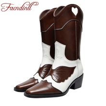 FACNDINLL new brand autumn winter women boots genuine leather med heels high quality shoes woman mid calf riding boots 34-40 недорого