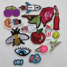 high quality different style hot fashion hot melt adhesive applique embroidery patches stripes DIY ornamentation accessory patch(China)