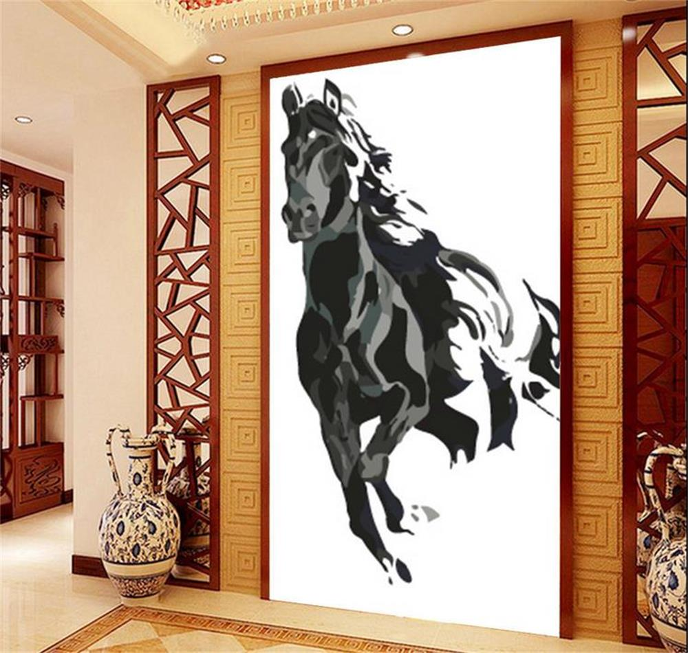 Online get cheap chinese painting wallpaper horse for Chinese mural wallpaper
