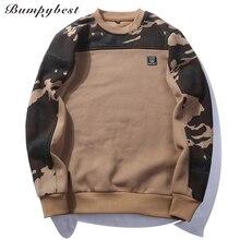 Брендовый пуловер в стиле пэтчворк, камуфляжные толстовки, мужские облегающие трикотажные толстовки с круглым вырезом, мужские пуловеры, размеры США/ЕС XXL, WY09