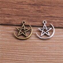 Star Charms Pendants Jewelry Finding Moon Bracelet Symbol 18--20mm 16pcs/Lot DIY Two-Color