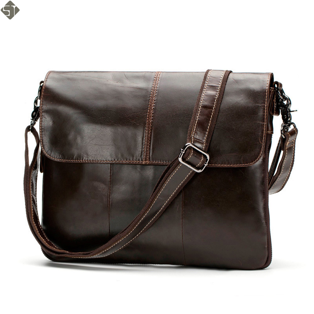 100% Genuine Leather Men bags Messenger Bag Crossbody Bag Men's Briefcase Vintage Shoulder Coffer Cowhide Leather Bags 2016 New