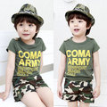 New Baby girls boys short sleeve camouflage t shirt shorts set summer new kids cotton wear boy girl cotton casual clothes 16A12