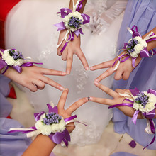 Free Shipping Wedding Decoration Bride and Bridesmaid Wrist Flower 2 pcs per Bag Party Decoration Artificial Flowers