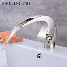 Brass Basin Bathroom Waterfall Faucets Tap Deck Mount Vanity Vessel Sinks Mixer Bath Faucet Water Crane стоимость
