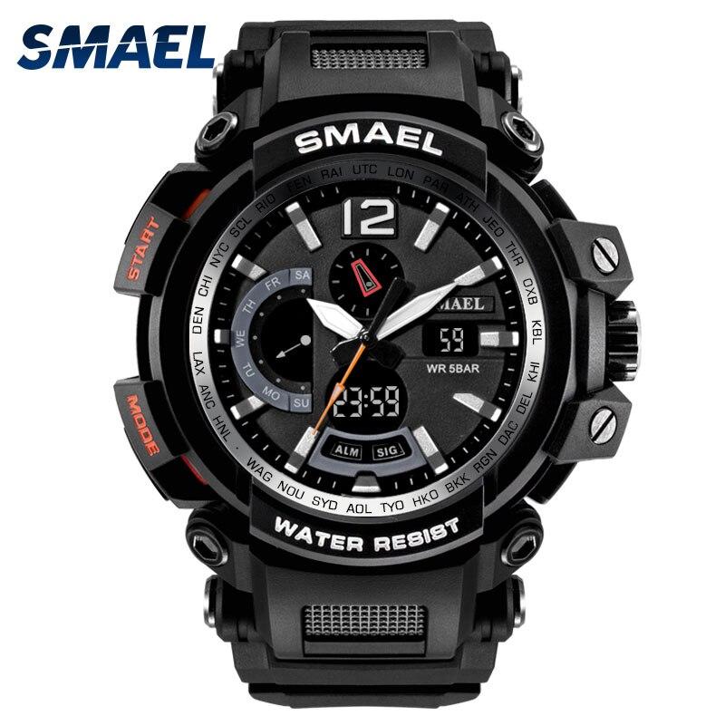 SMAEL Hommes de montre résistante à l'eau Dans 5bar Chronographe montres de sport led Numérique Mâle Horloge 1702 montre noire Militaire montre militaire