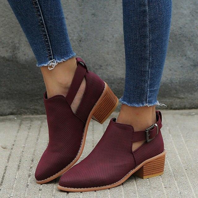 Весна Для женщин из флока полые ботильоны пряжки для женской нейтральный острый носок Швейные квадратный каблук дышащая повседневная женская обувь