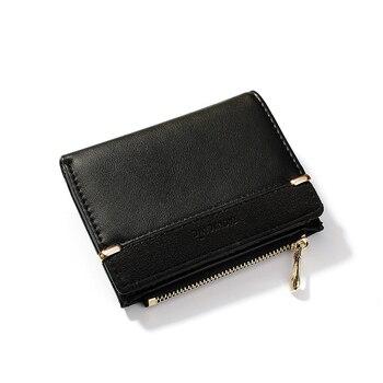 52aba1d67d39 Женские кожаные кошельки, Женский кошелек, мини-кошелек с застежкой,  однотонный держатель с несколькими картами, модные короткие кошельки д.