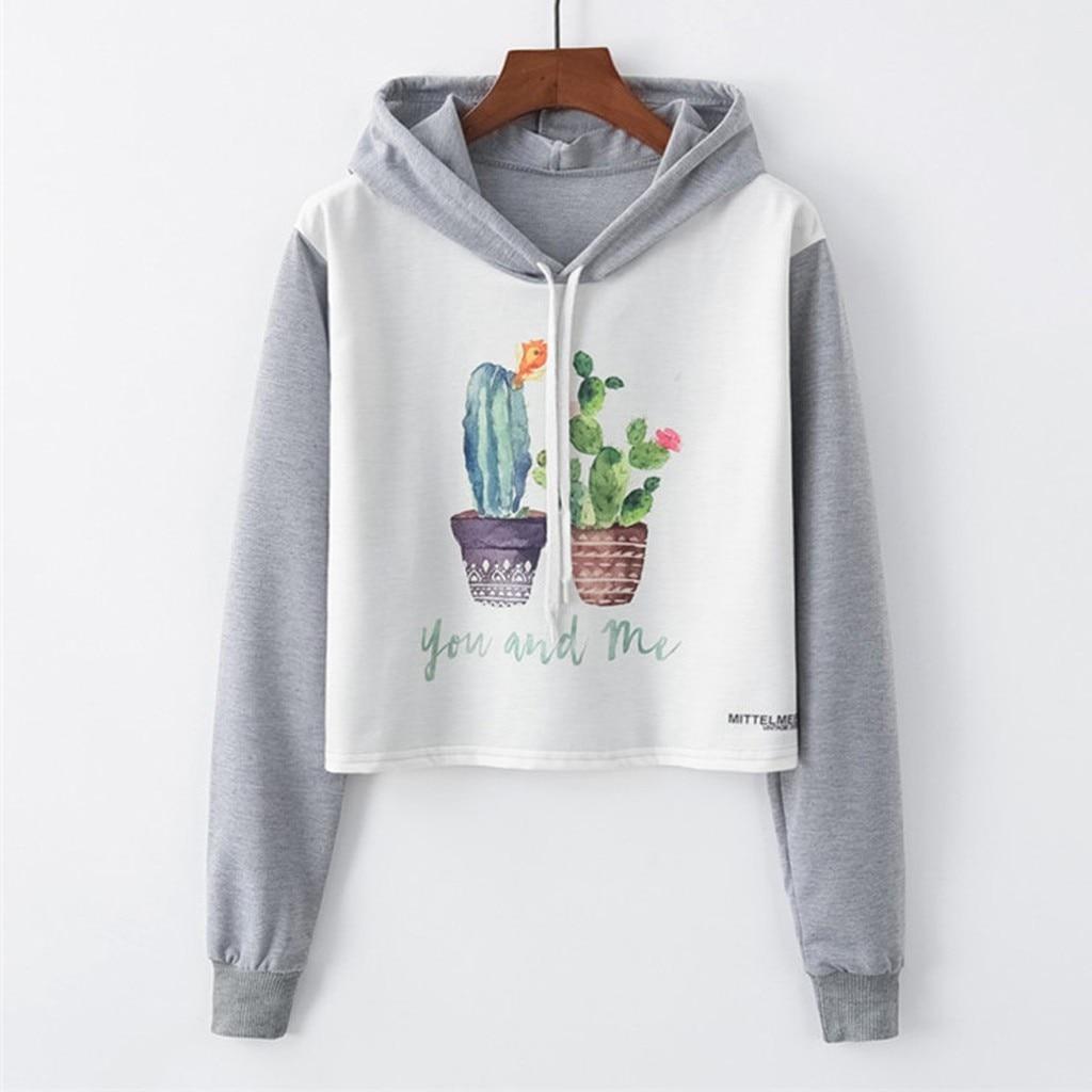 Woman Fashion Loose O-Neck Cactus Print Long Sleeve Short with Hat Sweatshirt qaulity busos para mujer cotton crop top hoodie