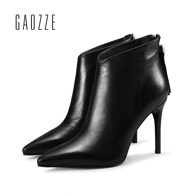 GAOZZE genuine leather ankle boots for women tassel zipper ankle boots pointed toe thin high heeled women boots 2017 autumn new gaozze autumn ankle boots for women 2017 new sexy thin high heeled boots women side zipper fashion pointed toe shoes red boots