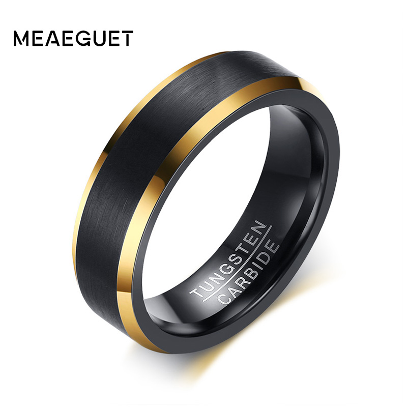 Meaeguet Black Gold Color Tungsten Ring Men Carbide Engagement Rings Jewelry Matte Brushed Wedding Anillos Band USA Size 8 to 12