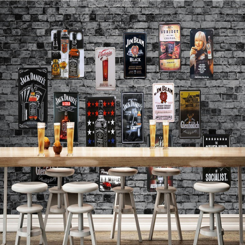 photo wallpaper Custom Europe American retro brick wall metal painting cafe restaurant bar decoration wallpaper mural custom photo wallpaper 3d retro wheel imitation brick wall wallpaper mural bar restaurant lounge hotel wallpaper