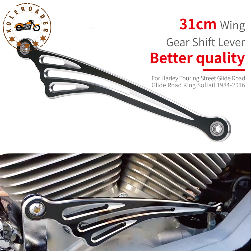 CNC Gear Shift Lever Shift Linkage Black & Chrome Wing For Harley Touring Road King Softail 1986-2017 Motorcycle Parts #MBJ122 koleroader 31cm wing cnc shifter linkage gear shift lever for harley touring street road glide road king softail 1986 2016