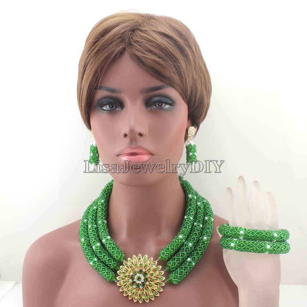 2019 New Nigerian Green/White Costume African Beads Jewelry Set Indian Dubai Wedding Jewelry Set Free shipping HD82432019 New Nigerian Green/White Costume African Beads Jewelry Set Indian Dubai Wedding Jewelry Set Free shipping HD8243