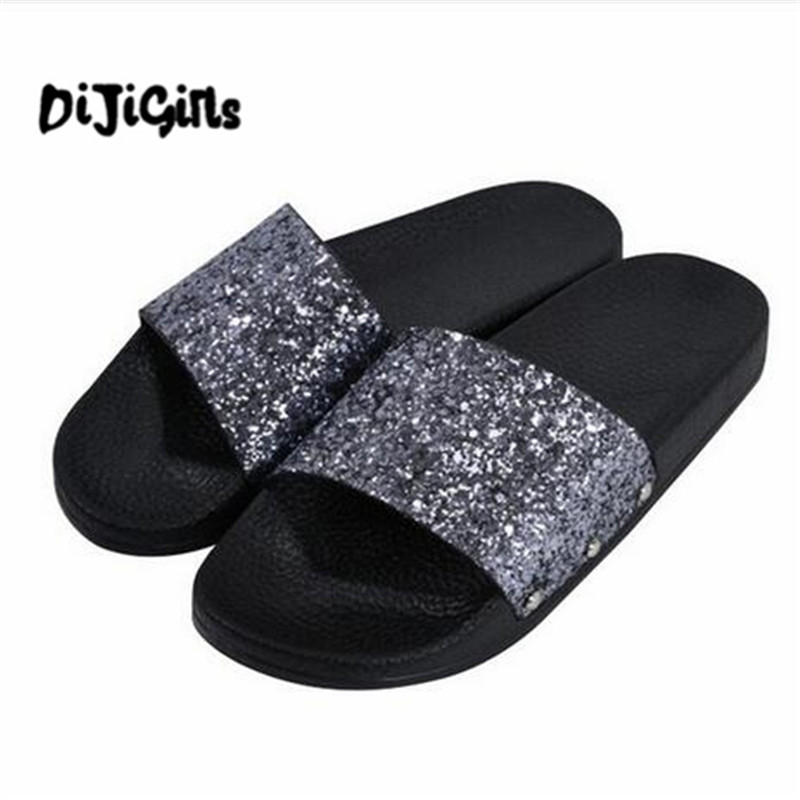 Summer Style Women Sandals Flip Flops Sexy Open Toe Slides Female Fashion Glitter Sandals Platform Comfortable 2017 shoes women sandals flip flops sexy open toe slides female fashion platform comfortable sandal sweet slippers jelly shoes