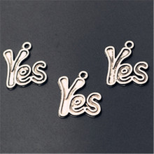 Yes charm, Yes Pendant, Bracelet Charm, Antique Silver Yes Charm, Jewelry Finding, Necklace Pendant, Word Charm,10pcs 24*20mm yes yes talk