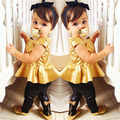 High Quality, Fashion Baby Girls Kids Shirt Dress + Legging Pants Children Casual Clothes Sets Suit Outfits Golden+Black