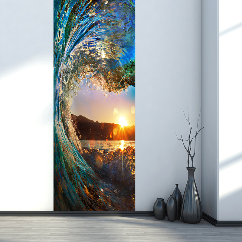 Sunset Ocean Modern 3D Creative Fashion Large Mural Wallpaper Bedroom Living Room Door Decoration Wall Painting Self-adhesive book knowledge power channel creative 3d large mural wallpaper 3d bedroom living room tv backdrop painting wallpaper