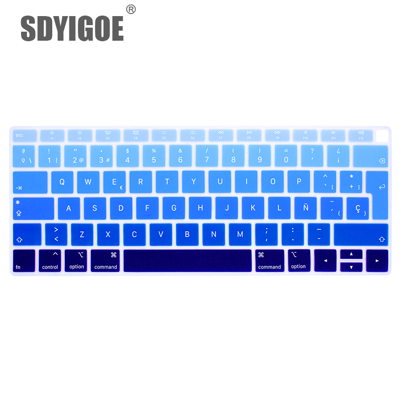 Spanish Chile Laptop Keyboard Cover for MacBook air 13 EU Keyboard Cover Color Protective Film Display Spain Language-Gradient Blue