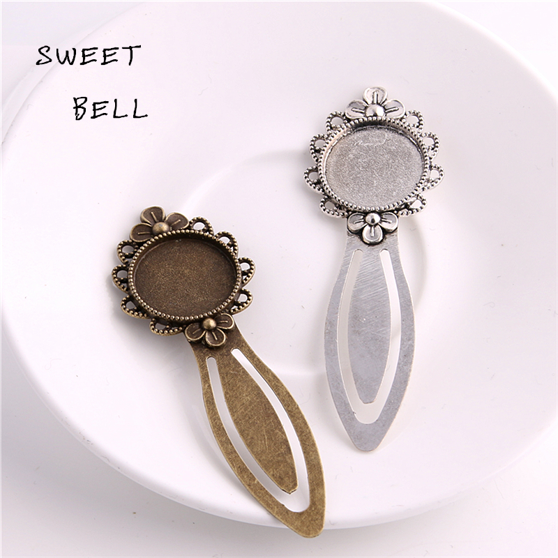 Sweet Bell 8pcs Two color Alloy Cameo Flower Steel Bookmarks 20mm-28*83mm Round Cabochon Settings Jewelry Blank Charm A4271-2 blouse with flower bell bottom color blue