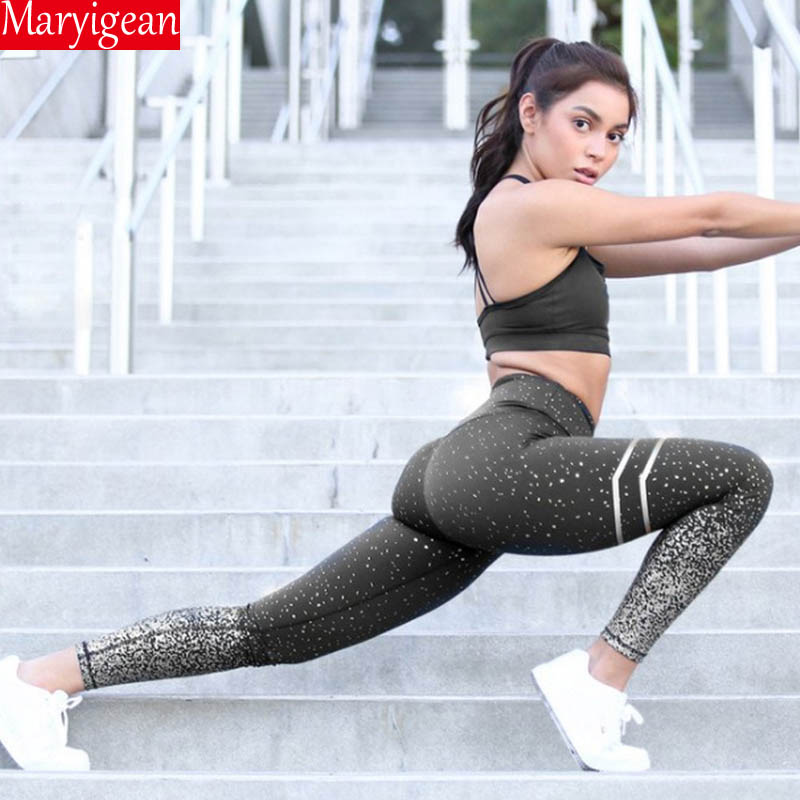 Maryigean 2019 Women Gold Print High Waist Leggings No Transparent Exercise Fitness Leggings Patchwork Push Up Female Pants