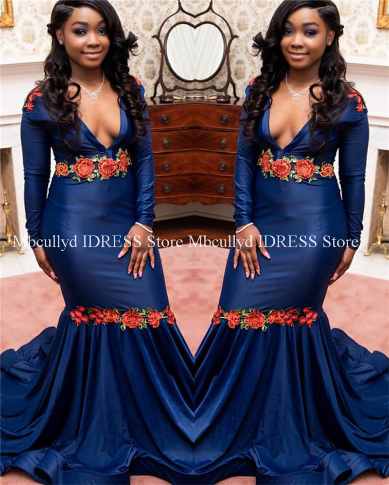 Buy Cheap Deep V-neck Black Girls Mermaid Prom Dresses 2019 Elegant Long Sleeves African Evening Gowns Cute Red Flowers Women Gala Gowns 2019 Latest Style Online Sale 50%