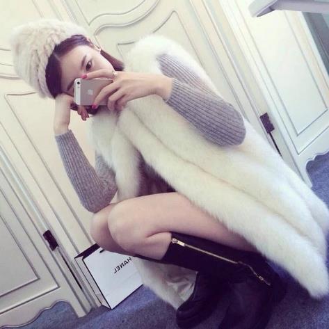 Gilet Fourrure Femelle Sexy D'hiver Faux ardoisé En Vêtements Femmes rose Manteaux Sans blanc Argent De Sortie Manches Vestes Clobee Long 2019 M769 Vague Renard zIPw6
