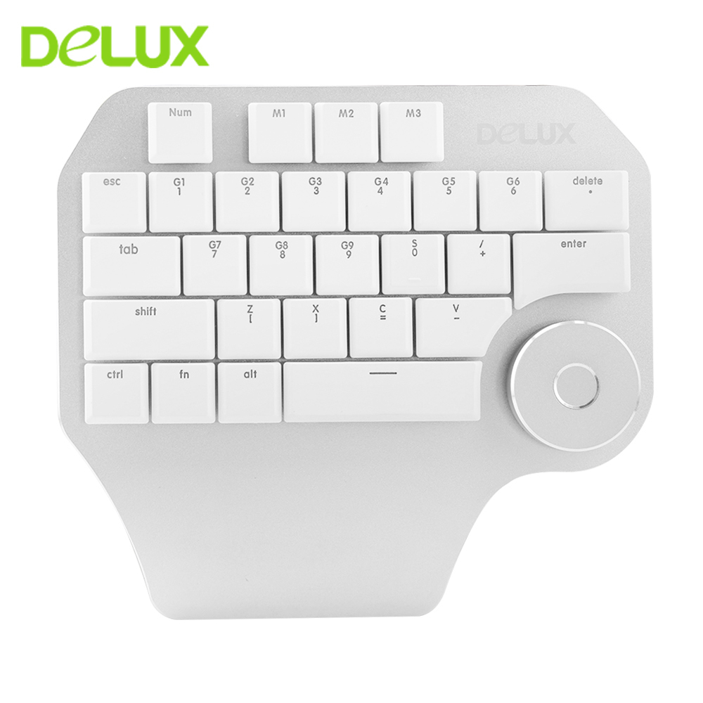 Delux T11 Designer Single Hand Ergonomic Keyboard + Surface Dial + M618 Mini Wireless Bluetooth Vertical Mouse Combo For Laptop