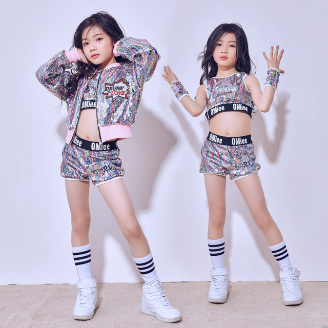 03974ad2daf3 2018 Hip Hop Dance Costume Girls Children S Day Multicolor Sequins ...