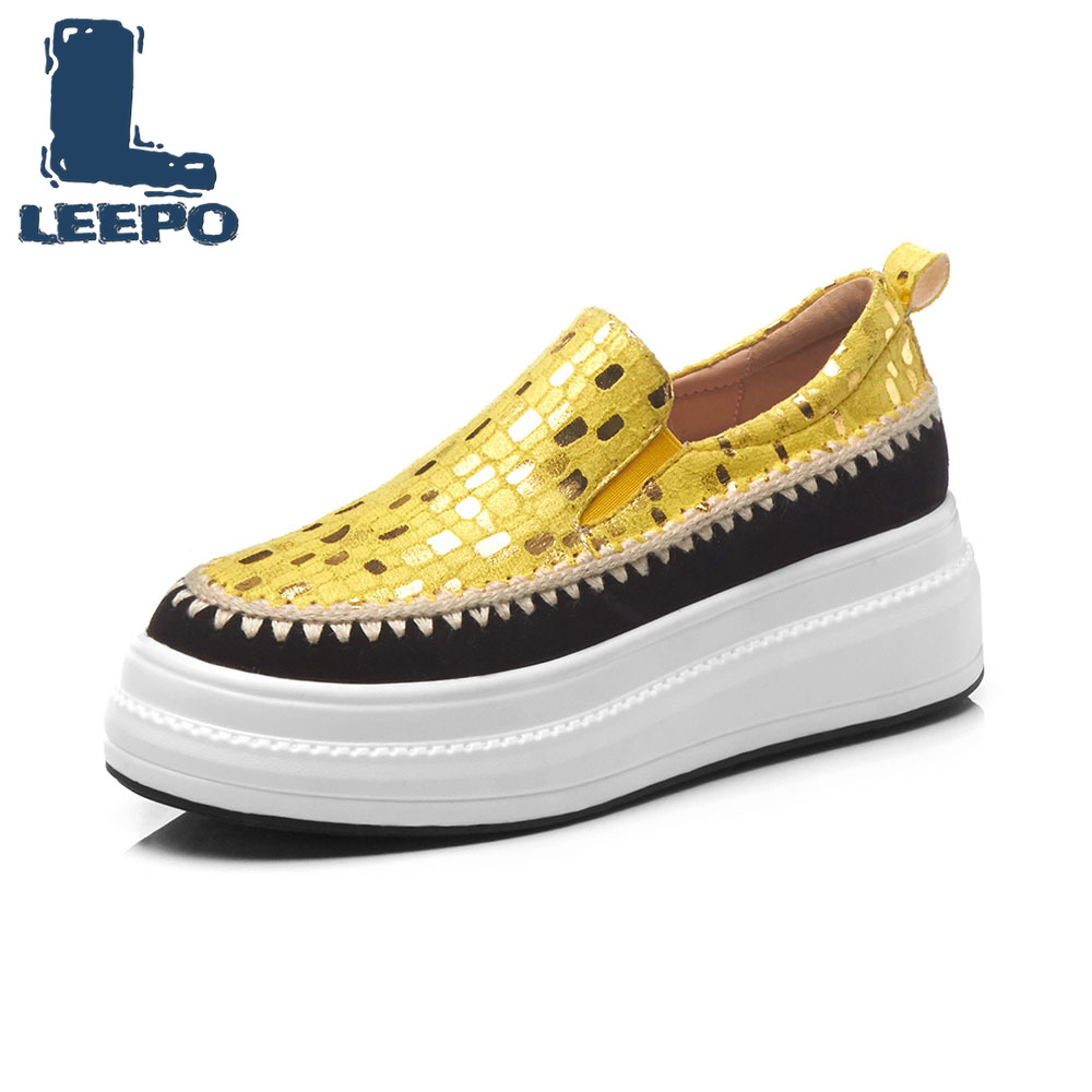 LEEPO Platform Loafers Shoes for Women Luxury Handmade Genuine Leather Yellow Flats Shoes Ladies Striped Plaid