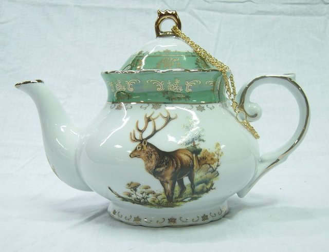 "good sell 10"" (24pcs/carton)porcelain tea/coffee pot with green color&golden rim overglazed decal"