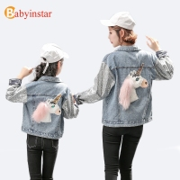 Babyinstar Family Matching Outfits Paillette Denim Jacket For Girl 2018 Fashion Jeans Coat For Girls Horse Family Match Clothes