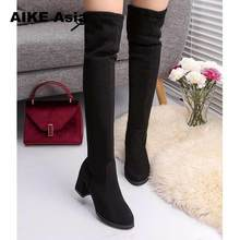 2019 frauen Casual Über Die Knie Stiefel Schuhe Winter Frauen Weibliche Runde Kappe Plattform High Heels Pumps Warm Schnee Stiefel mujer W391(China)