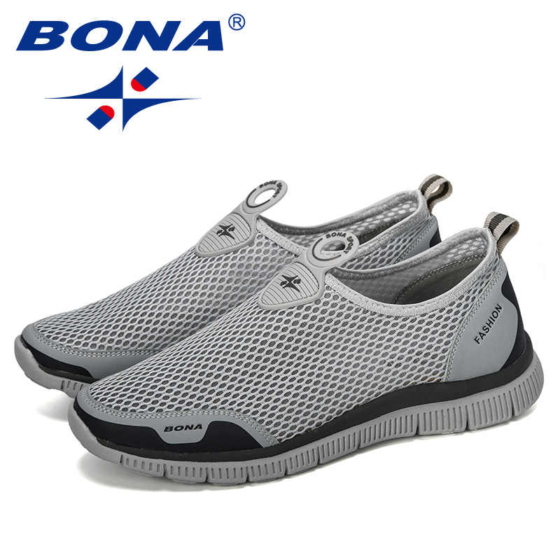 BONA 남성 통기성 캐주얼 신발 Krasovki Mocassin Basket Homme 편안한 스니커즈 신발 Chaussures Pour Hommes Mesh Shoe
