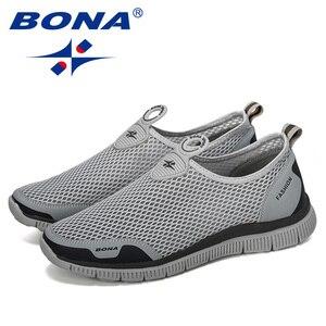 Image 3 - Мужские воздухопроницаемые кроссовки BONA, серые повседневные сетчатые Мокасины, удобная обувь для баскетбола, 2019