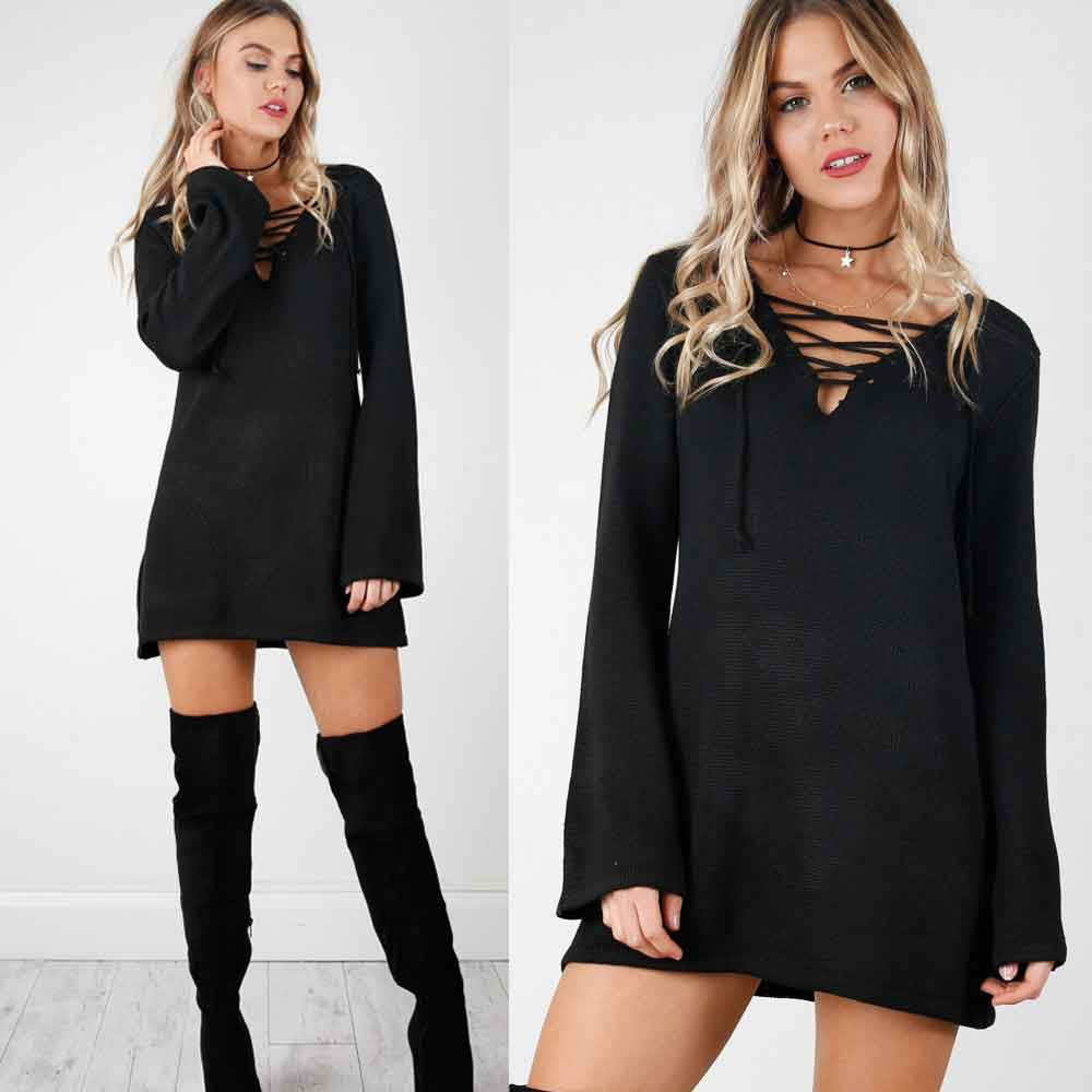 Fashion Knitted Sweater Vestidos Robe Femme Women Sexy Bandage V-neck Autum Winter 2018 Solid Long Sleeve Bottoming Mini Dresses