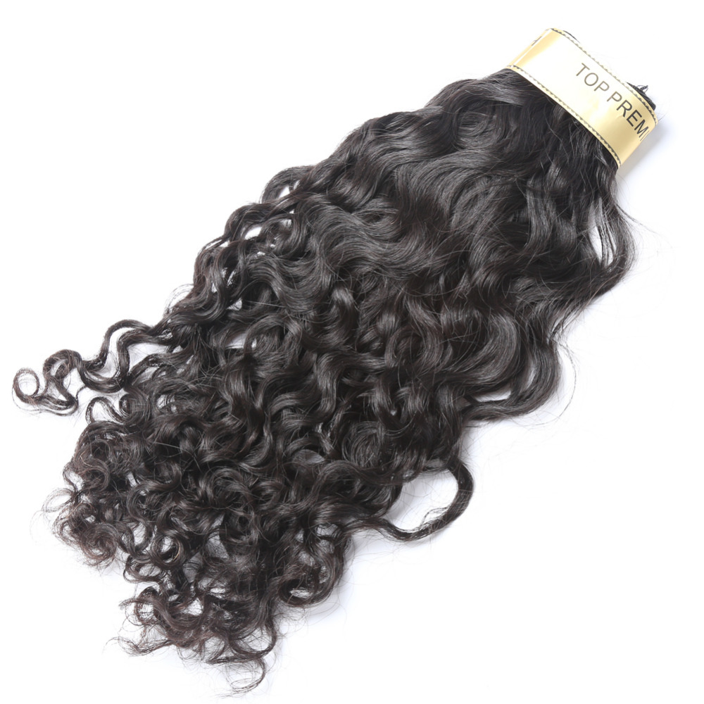 Топ Премиум волна воды человеческих волос Индийский Девы соткет 3 Связки/серия Natural Цвет Бесплатная доставка