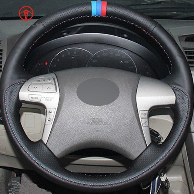 Lqtenleo Black Genuine Leather Diy Hand Sched Car Steering Wheel Cover For Toyota Highlander Camry 2007 2017