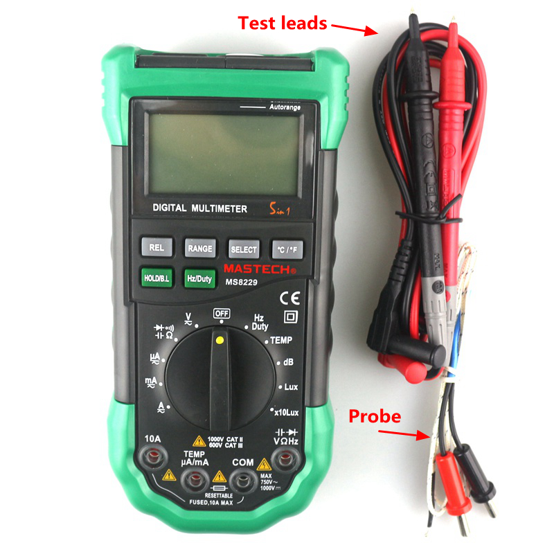 Eletrical MASTECH MS8229 Digital Multimeter Auto Manual Range -20~400C AC DC Test Leads Cable Thermocouple LCD Tester Portable mini multimeter holdpeak hp 36c ad dc manual range digital multimeter meter portable digital multimeter