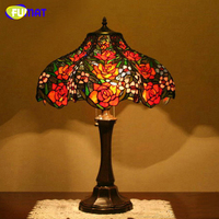 FUMAT Stained Glass Table Lamp European Creative Art Glass Rose Lamp Living Room Bedside Lamp Home Decoration Light Fixtures