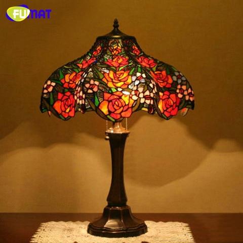 fumat vitrais lampada de mesa europeu criativo arte vidro rosa lampada sala estar lampada cabeceira