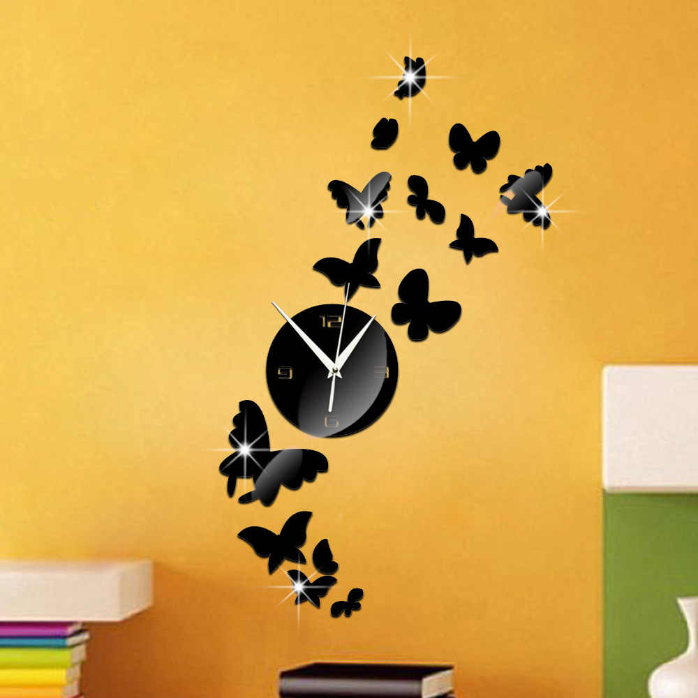 Mirror Decor Beautiful Wall Clock 3d Butterfly Bathroom Clock Waterproof Sticker Relogios Parede Modern Clock digital-watch