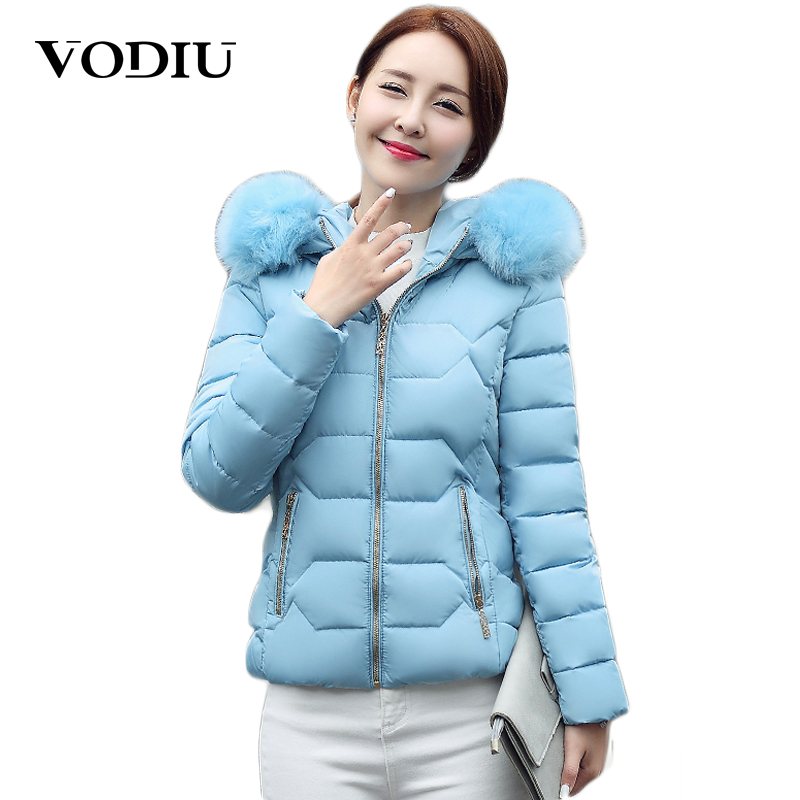Vodiu Winter Jacket Parka Women Outwear Coat Zipper Short Fur Collar Hooded Warm Slim Women Jackets Solid Fashion Casual Coats 2017 women jackets and coats solid slim large fur collar hooded short parkas thick jacket winter women warm coat overcoat sy003