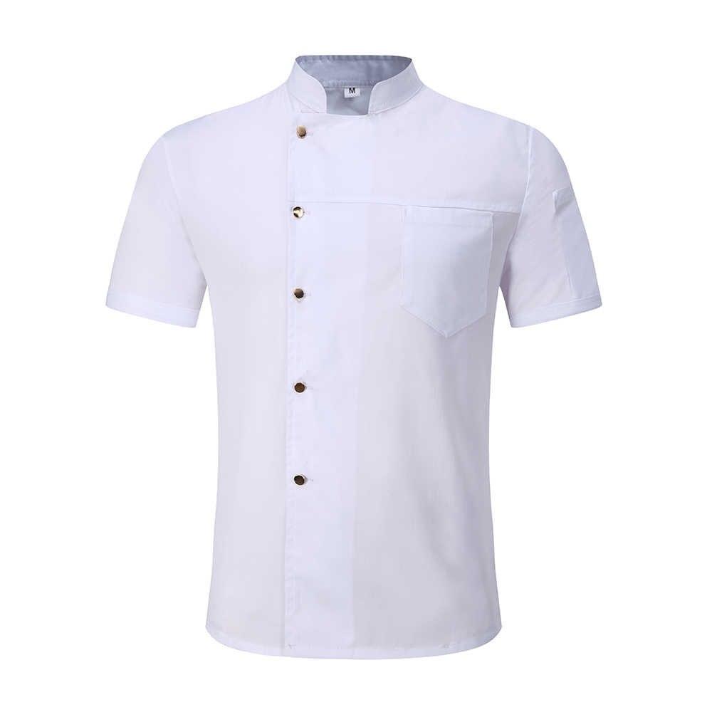 Черно-белая оптовая продажа унисекс кухня шеф-повара Униформа летние с короткими рукавами рабочая одежда шеф-повара и фартуки хлебобулочные питание в отеле обслуживание